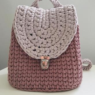 Рюкзак з трикотажної пряжі, рюкзак ручной роботы, вязанная сумка,женская сумка-рюкзак