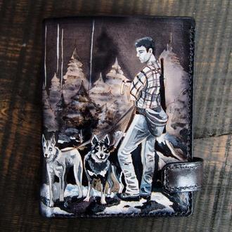 Мужское портмоне, портмоне с рисунком Охота, купить кожаный кошелек, мужское портмоне
