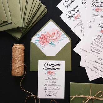 """""""Пион"""" Свадебные приглашения/подарочные сертификаты ручной работы формата А6 комплект"""
