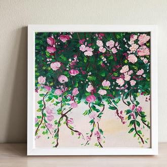 """Мини картина маслом с мольбертиком """"Плетистые розы"""" р. 18*18 см"""