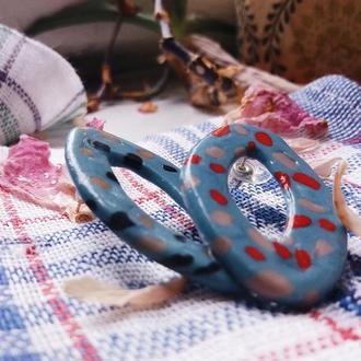 Голубые серьги гвоздики в виде лодочек