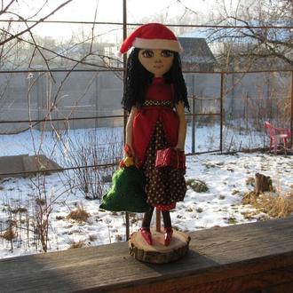 """Авторская текстильная кукла Даша, серия """"Зимние праздники"""""""