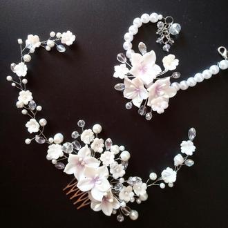 Белый свадебный гребень и браслет