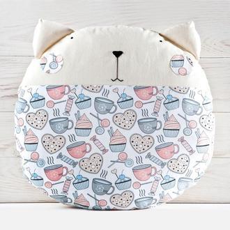 Декоративная подушка кот, Круглая подушка капкейки, Подарок девушке