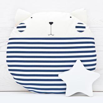 Полосатый кот подушка, Декор в детскую в морском стиле