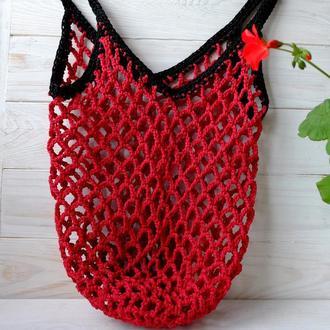 Сумка-авоська красная, эко-сумка, сетка, сумка для покупок 07