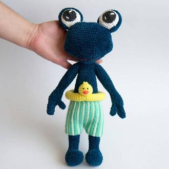 Вязаная мягкая плюшевая игрушка Лягушка / Лягушонок