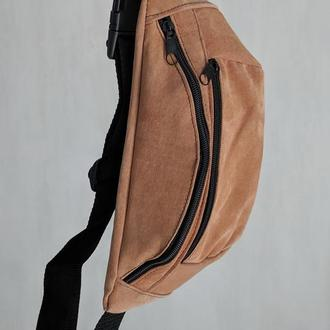 Большая бананка из натуральной кожи, сумка на пояс вместитетльная светло рыжий