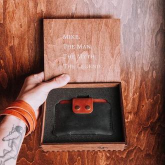 Кожаный мини-кошелек, кошелек из натуральной кожи, тонкий кошелек