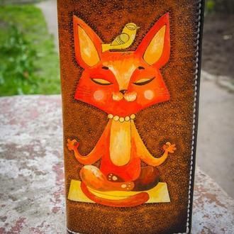 Кошелек с котом, кот на кошельке, женский кошелек, кожаный тревел кошелек