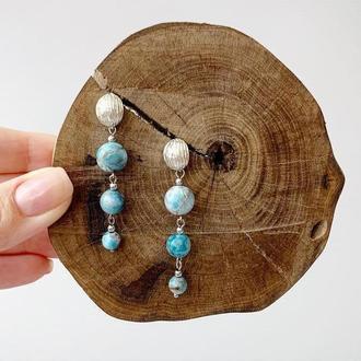 Длинные серьги-гусеницы из натурального апатита (модель № 542) JK jewelry