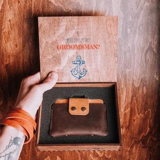 Мужской кожаный кошелек, кожаный мини-кошелек, кошелек из натуральной кожи, тонкий кошелек