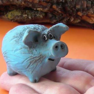 Фигурка свиньи Свинка синяя декоративная