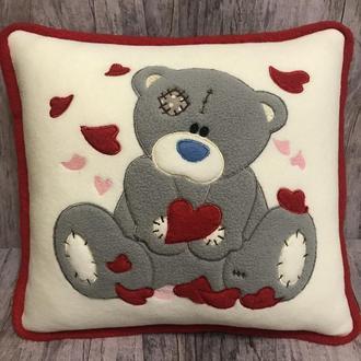 Подушка Мишка Тедди с сердечками