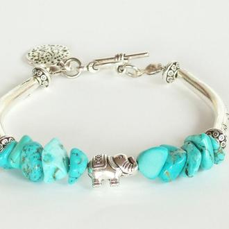 Богемный Бирюзовый браслет Elephant с подвеской Морская звезда и серебристыми бусинами-трубками