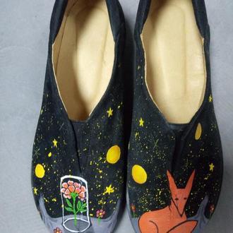 Замшевые туфли с росписью Маленький принц.