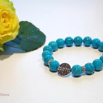 Бирюзовый браслет, Бирюза 10 мм, Камень счастья