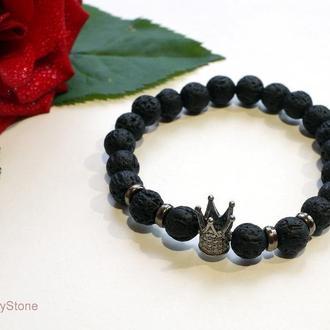 Браслет из натурального камня, Лава браслет, Черный браслет, Унисекс браслет