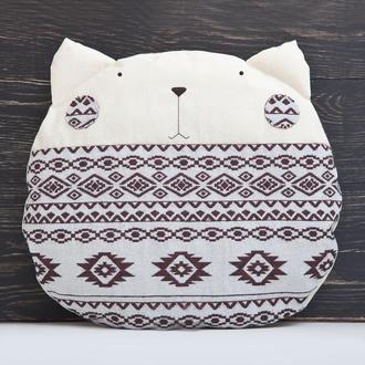 Подушка кот, Белая подушка с орнаментом, Подарок девушке