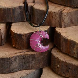 """Підвіска """"Місяць"""" рожева"""