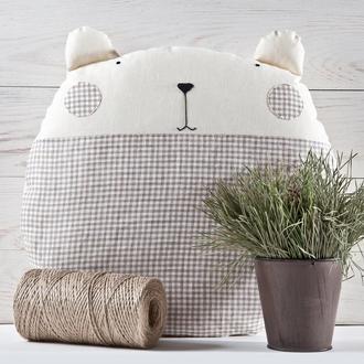 Декоративная подушка медведь в клеточку, Декор в детскую