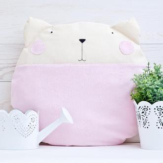 Декор в детскую, Подушка Кот, Розовая Подушка