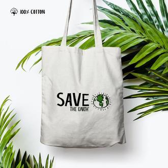 "Эко сумка ""Save the earth"" / Белый шоппер / Сумка с рисунком / Хлопковый шоппер"