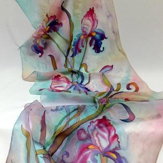 """Шелковый шарф """"Ирисы в стиле модерн"""" натуральный шифон, 180 * 45"""