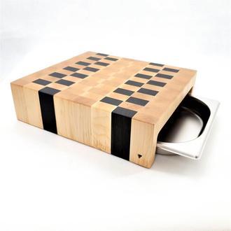 Центр для нарезки, столик из торцевих спилов древесины клена и мореного дуба с гастроемкостью.