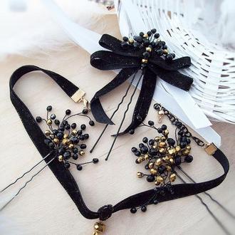 Ренесанс- комплект украшений  черно золотой , бесплатная доставка