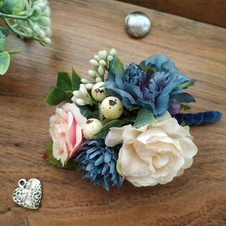 Бутоньерка для жениха в цвете Ligh Navy Бутоньерка для свидетеля Свадебные бутоньерки