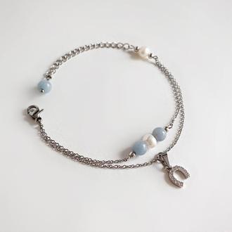 Тонкий браслет-цепочка с ангелитом и речным жемчугом (модель № 330) JK jewelry
