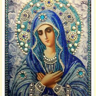 """Вышивка алмазными стразами образа Умиление Божьей Матери,готовая работа"""",30х40см"""