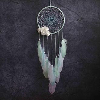 Мятный белый ловец снов с цветами в спальню или детскую комнату Ловец снов для девушки Подарок дочке