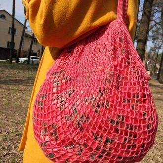 Сумка-шоппер. Вязанная сумка с подкладкой. Авоська. Эко-сумка. Красная сумка. Сумка-мешок