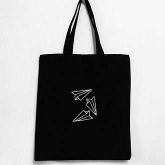 """Эко - сумка шоппер """"Бумажные самолетики"""""""