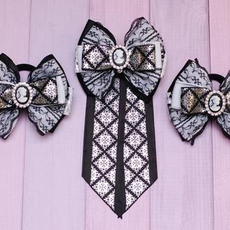 Школьный комплект для девочки: галстук и бантики