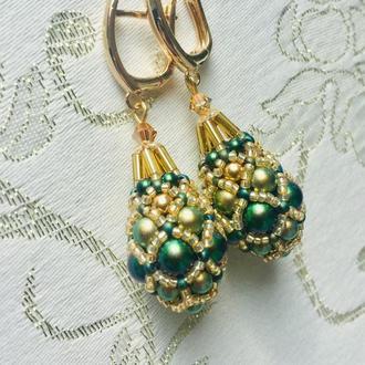 Сережки-фаберже з перлами Swarovski