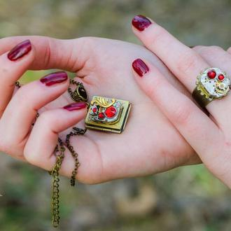 Набор кольцо и фото медальон в стиле steampunk (в наличии)