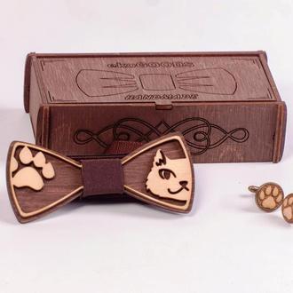 """Комплект деревянная бабочка и запонки """"WOODWORK"""""""
