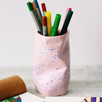 Стаканчик для пензликів, тримач для ручок, тримач для олівців, кераміка / органайзер