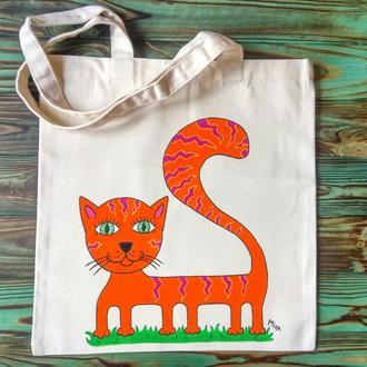 """Еко-сумка """"Кіт - помаранчевий"""""""