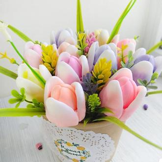 """Мыло  """"Букет тюльпанов"""" в супнике  11шт"""