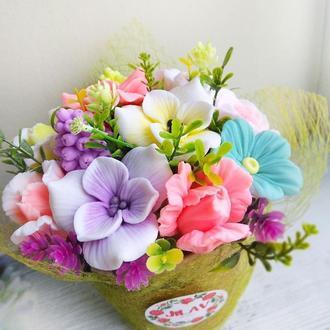 """Мыло """"Букет цветов в супнике"""""""