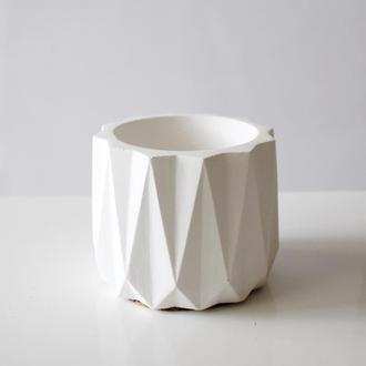 Бетонный белый горшок, кашпо из бетона для цветов
