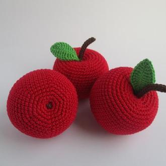 1 шт-яблоко/apple/вязаные фрукты/вязаные игрушки в виде еды/прорезыватель для зубов