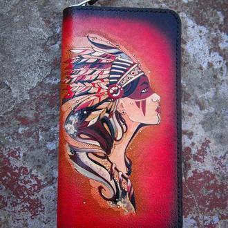 Женский кошелек на змейке Профиль, кожаный кошелек, кошелек для девушки