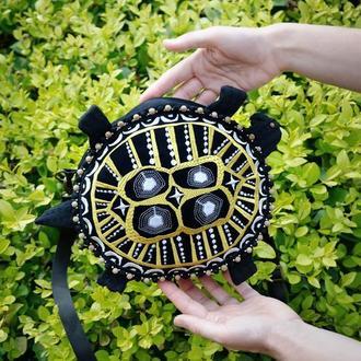 Вышитая сумочка в виде черепахи, Сумка через плечо с вышивкой, Черная сумочка Золотистая черепаха