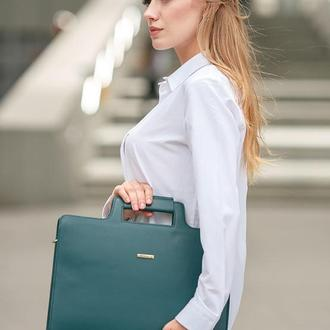 Женская сумка для ноутбука и документов малахит – зеленая