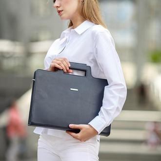 Женская сумка для ноутбука и документов темно-синяя